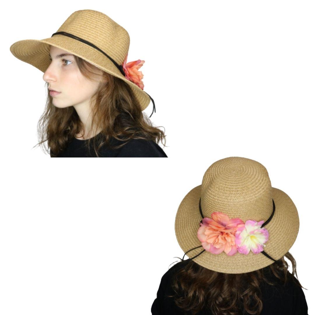 Sombrero capelina de adulto con decoración en el ala.