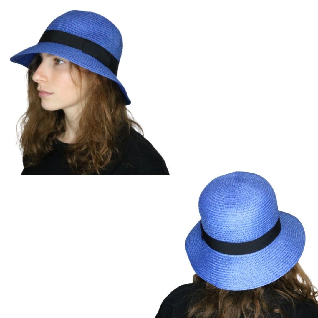 Sombrero capelina de adulto con ala corta y cinta decorativa