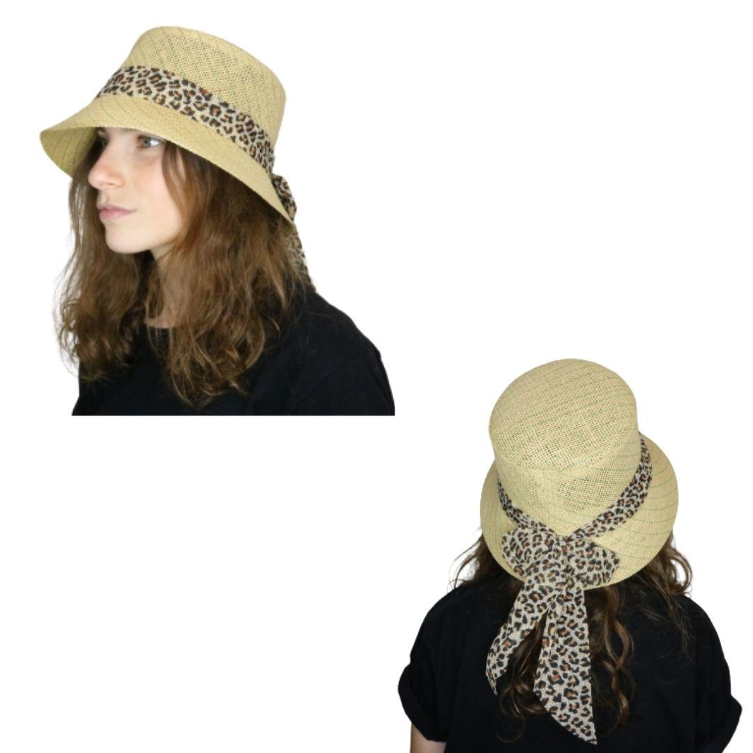 Sombrero capelina de yute con cinta de animal print.