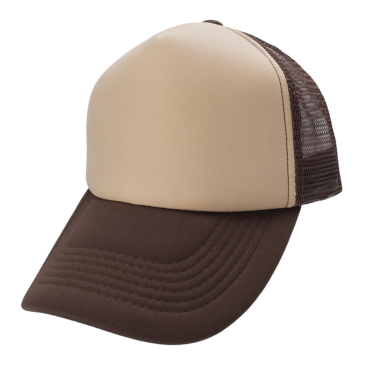 GORRA TRUCKER MARRON FRENTE BEIGE