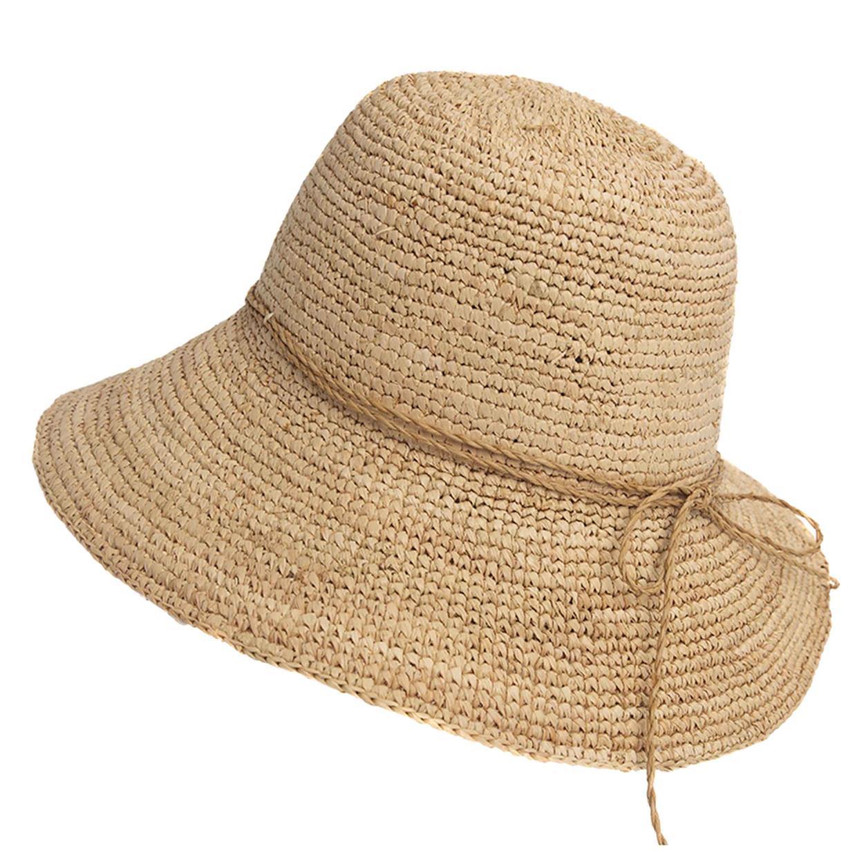 Sombrero capelina de adulto en raffia natural.