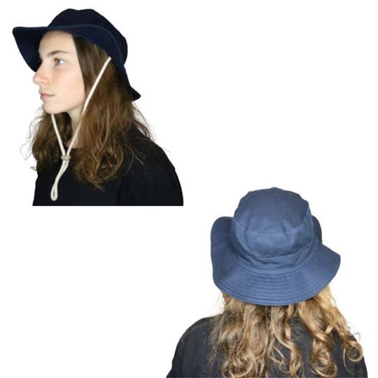 Sombrero australiano de adulto en negro con ajuste de cordón